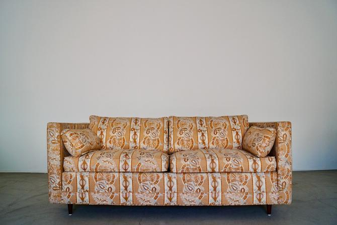 Gorgeous 1960's Mid-century Modern Tuxedo Loveseat Sofa in Original Designer Fabric! Down Filled! by CyclicFurniture