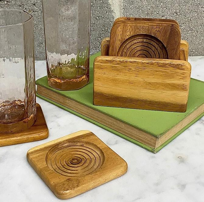 Vintage Coaster Set Retro 1980s Contemporary + Tan Wood + Square + Circle or Bullseye Design + 7 Pieces + Drink Holder + Kitchen + Bar Decor by RetrospectVintage215