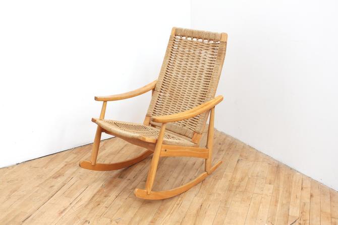 Danish Modern Rocking Chair Rope Hans Wegner Style by 330ModernAntique