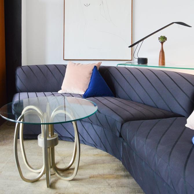 Noir Satin Stripe Curved Sectional Sofa
