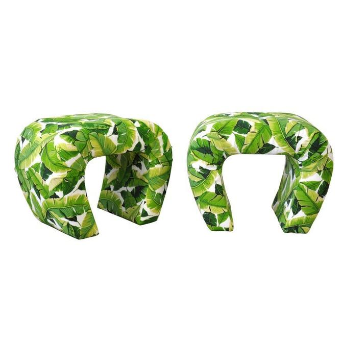 Pair of Steve Chase Banana Leaf Pattern Waterfall Benches by SelectModernDesign