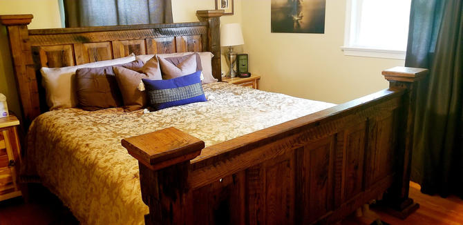 Montana Home --  Raised Panel Headboard Bed from Reclaimed Wood by StrongOaksWoodshop
