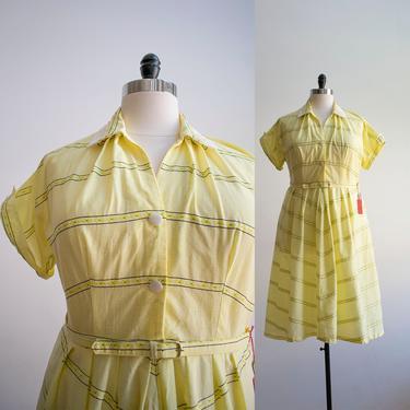 Vintage 1950s Shirt Dress / 1950s Yellow Gingham Dress / 1950s Cocktail Dress / 50s Plus Sized Dress / Vintage Lane Bryant Dress XL by milkandice