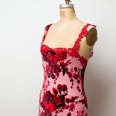 1990s Burnout Velvet Dress   90s Red Bias Cut Slip Dress Betsey Johnson by FemaleHysteria