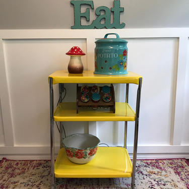 Costco Metal Cart Yellow serving cart vintage rolling vintage kitchen cart, coffee station Perfect Vintage Cart by VintageCoreReStore