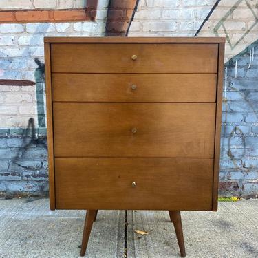 Vintage Paul Mccobb planner group modern mid century 3 drawer walnut maple small dresser nightstand brass pulls by symmetrymodern