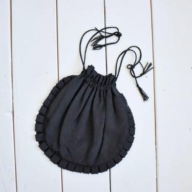 1940s Black Ruffled Circle Evening Bag by milkandice