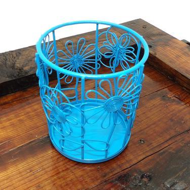 Wire Basket Bathroom Caddy Storage Soap Holder Dispenser Blue Painted Toothbrush Washcloth Shelf Rack Vanity Perfume Tray Hairbrush Comb by MakingMidCenturyMod