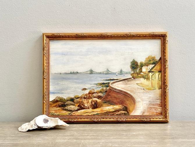 Small Antique English Oil Painting Coastal Landscape by ModRendition