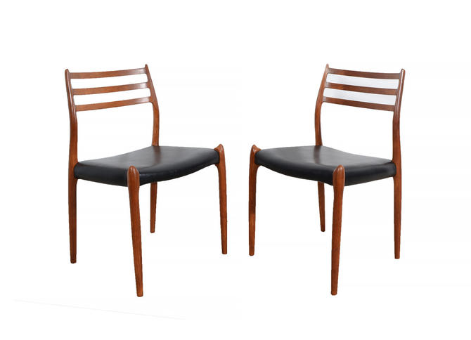J.L. Moller Dining Chairs Model #78 Leather 6 teak Dining Chairs by HearthsideHome