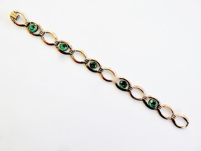 Simmons Open Set Green Crystal Gold Filled Bracelet by LegendaryBeast