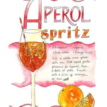 Aperol Spritz Recipe Watercolor Art Print