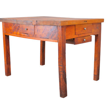 19th Century French Farmhouse Style Rustic Handmade Birch Butcher Block Table W/ Four Drawers by StandOutSpaces
