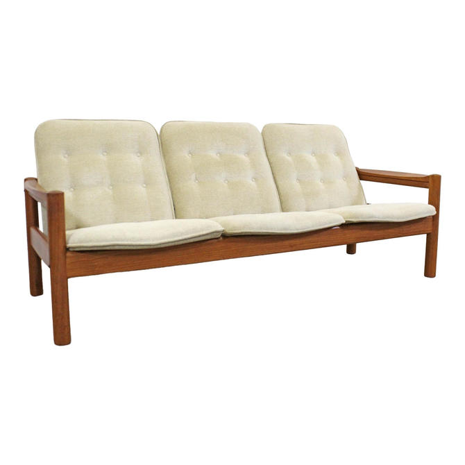 Domino Mobler Mid-Century Danish Modern Domino Mobler Tufted Teak 3-Seat Sofa by AnnexMarketplace