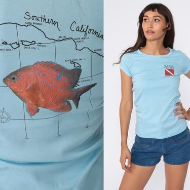 Vintage Scuba Shirt 80s Scuba Diving Shirt Orange County Aquatic Center Shirt Fish Baby Tee Retro TShirt Diver Baby Blue Small Medium by ShopExile