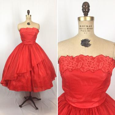 Vintage 50s party dress | Vintage red organza and chintz fit and flare evening gown | 1950s strapless lace trim full skirt cocktail dress by BeeandMason
