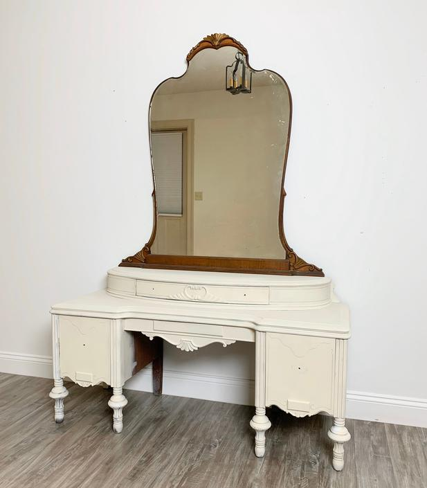 Available To Customize - Vintage Three Drawer Vanity with Mirror, Antique Dressing Table, Farmhouse Vanity Painted Your Choice by ForeverPinkVintage