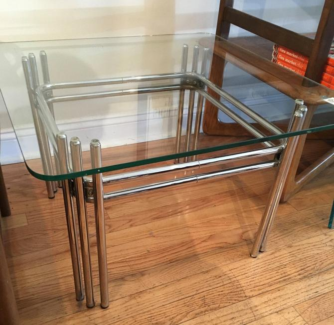 Mid Century Modern Glass and Chrome Coffee Table by bcdrygoods