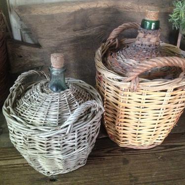 French Demijohn Wicker Wine Bottle Hand Wrapped Green Glass by JansVintageStuff