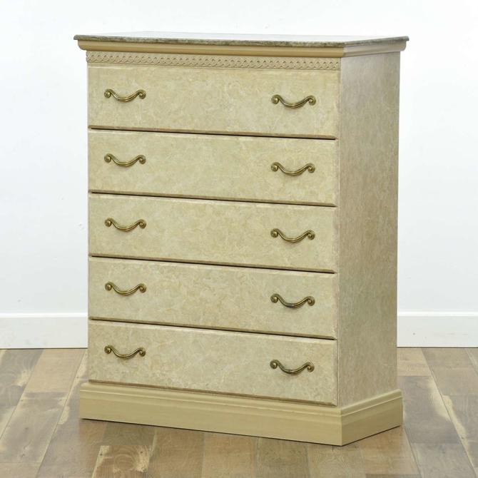 Good Companies Neoclassical Marble-Look Tall Dresser