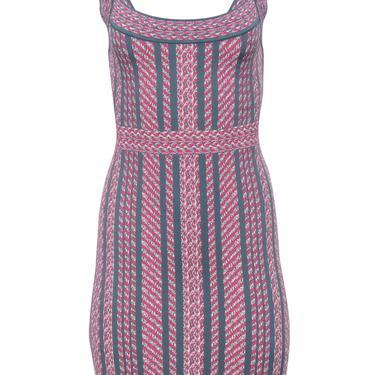 BCBG Max Azria - Pink & Grey Patterned Bandage Dress Sz S
