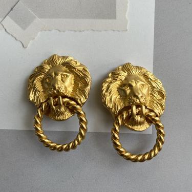 *Lion Head Door Knocker Clip Earrings*