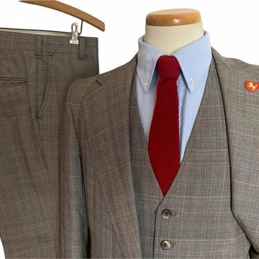 Vintage 1970s Wool 3pc GLEN PLAID Suit ~ 38 R ~ vest / waistcoat ~ pants / jacket / sport coat ~ Preppy / Ivy Style / Trad by SparrowsAndWolves