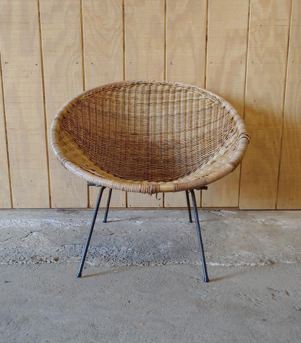 Vintage Mid Century Modern Rattan and Wrought Iron Hoop Chair Arthur Umanoff Style by ModandOzzie