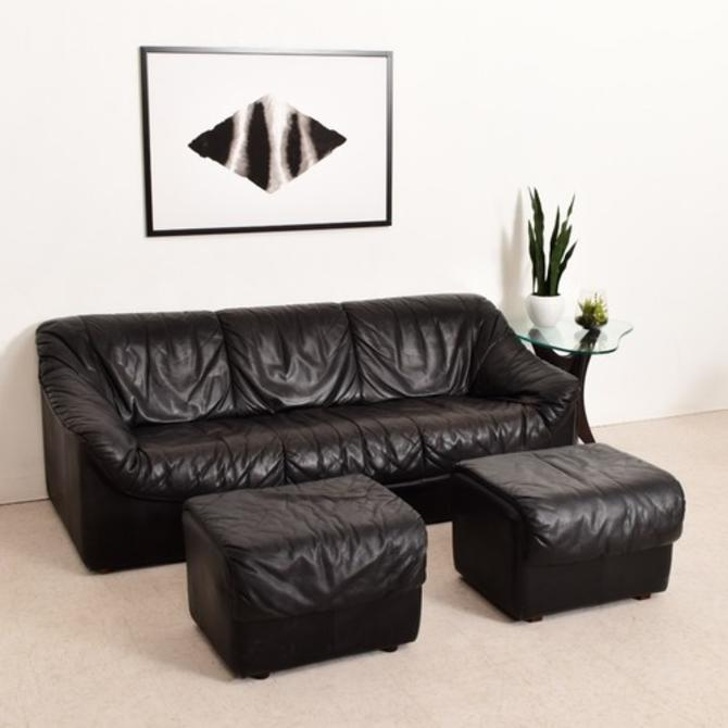 Vintage 1970's Leather Sofa with 2 Ottomans