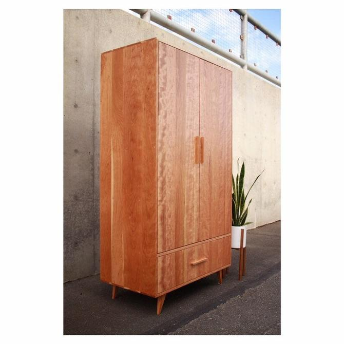 Modern Armoire, Wardrobe, Standing Closet, Mid-Century Influenced (Shown in Cherry) by TomfooleryWood