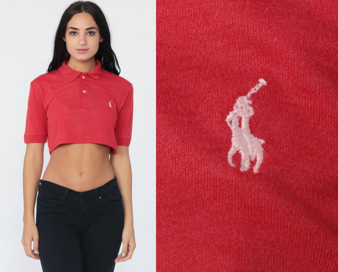 Top Sport Ralph Shirt Cropped 90s Red Polo Lauren Crop bf76gy
