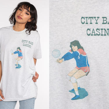 Volleyball Shirt City Bar Casino Shirt Graphic Tee Vintage Sports 80s Tshirt Retro T Shirt Print 90s Fruit of the loom Large xl by ShopExile