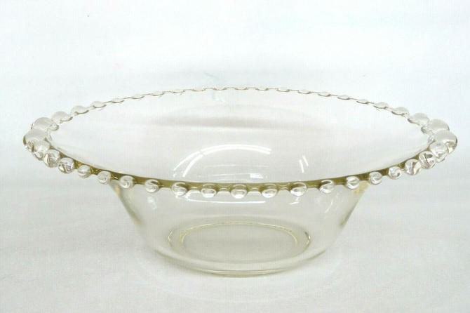 Imperial Candlewick Style Clear Glass Beaded Edge Salad Bowl 2087B