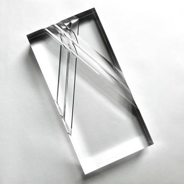 Large Alessio Tasca Acrylic Lucite Block Prism Sculpture, 1970s Italy Modernism by templeofvintage