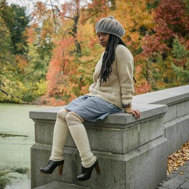Seashell Wool Leg Warmers/Crochet Leg Warmers/Knee High Leg Warmers/Cream Leg-Warmers/Wool Leg Warmers/Hand woven legwarmers by KonjoCrochet