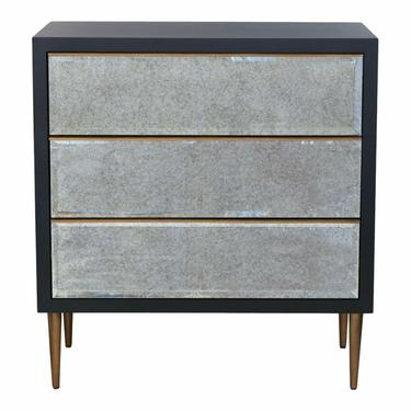 Port 68 Modern Black and Antique Mirror Chest of Drawers