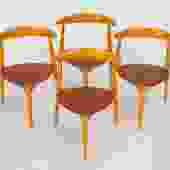 "Set of Four ""Hjertstolen"" Dining Chairs by Hans Wegner for Fritz Hansen"
