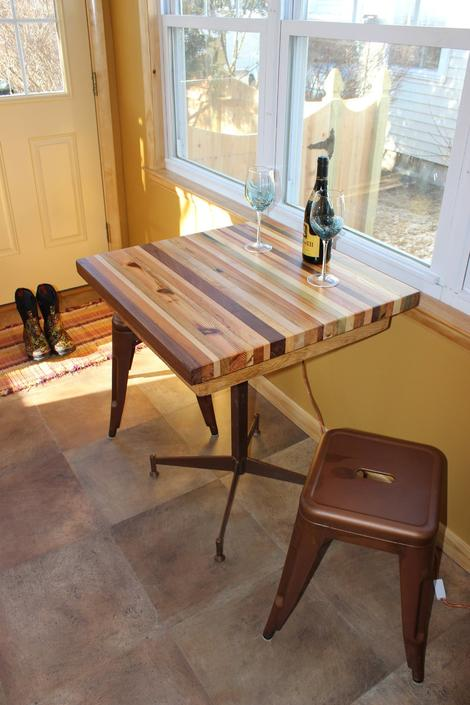 Butcher Block Kitchen Table with Metal Base by BarnWoodFurniture
