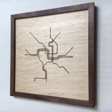 DC Metro Map Wall Hanging - Maple w/ Walnut Frame by TheNimbleBarber