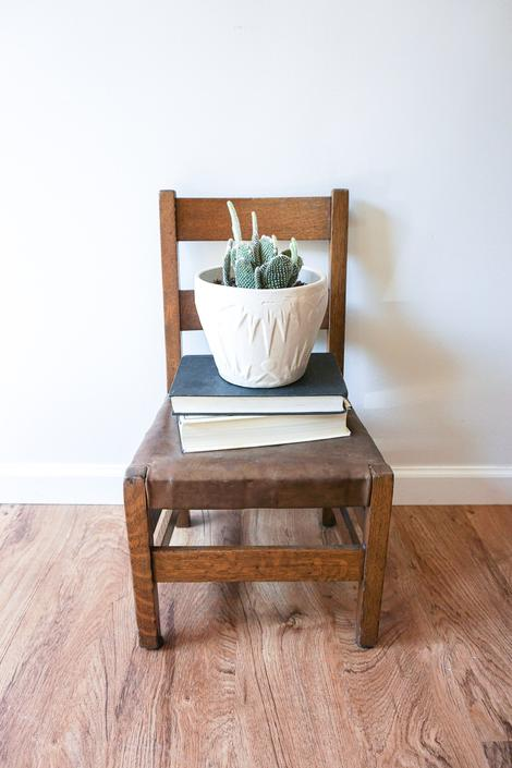 Antique Childrens Mission Chair with Leather Seat by PortlandRevibe