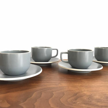 Set of 4 Sasaki Colorstone Cups and Saucers in Matte Gray by Vignelli Designs by TheThriftyScout