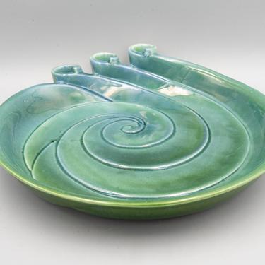 Haeger Potteries Serving Platter and Candleholder | Vintage Ceramic Beach Decor | Mid Century Modern Tableware by MostlyMidCenturySF