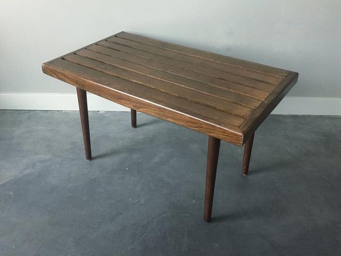 vintage mid century modern slat table / bench.