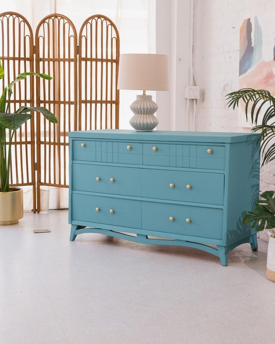 Aqua Teal 1950's Dresser