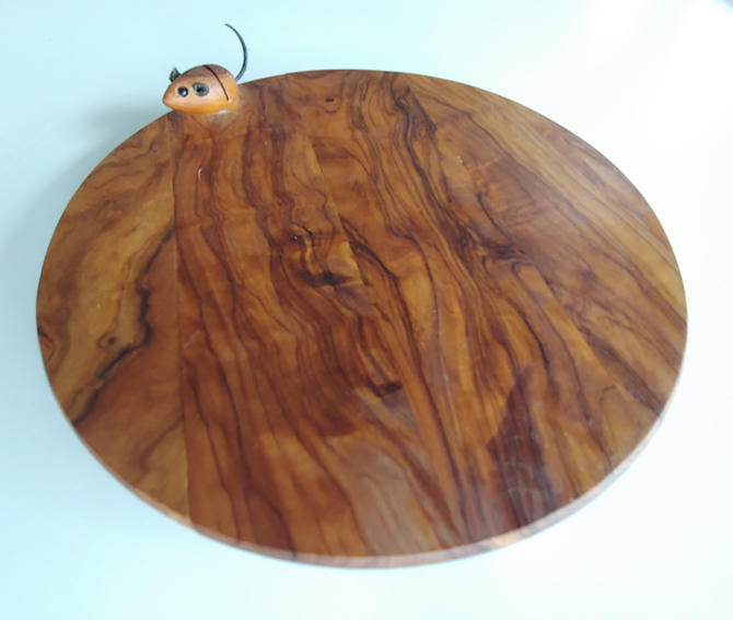 Vintage Olive Wood Cheese Board with Mouse Accent by ModandOzzie