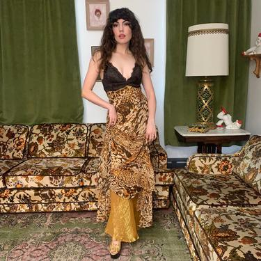 90s/Y2K LEOPARD DRESS - spaghetti straps - lace bust - bias cut - small/medium by GlamItToHell