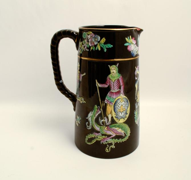 Hand Painted George and the Dragon in the Chinese style 1840s England Black Pitcher Black Jug by HearthsideHome