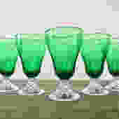 Mid Century Forest Green Footed Water Goblets (Set of 5), Anchor Hocking Burple Pattern, 1950s Art Deco Depression Glass Tumblers by ArchiveHomeVintage