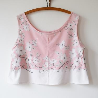 Vintage 1940s Tablecloth Top   Reworked Vintage Blouse   Handsewn   We, Mcgee-Made Picnic Top   Pink Dogwood Flower   L by wemcgee