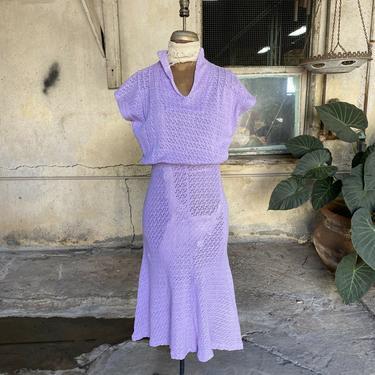 Antique 1930s Purple Cotton Knit Midi Dress Crochet Lace Sleeveless Vintage